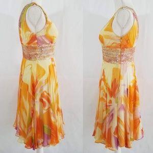 BASIX II Dresses - Silk Floral Fit Flare Dress Plunging Neckline Sz 2